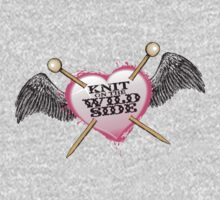knit on the wild side knitting needles tattoo One Piece - Long Sleeve