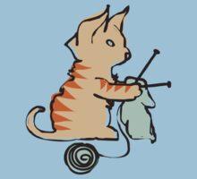 Cute cat knitting needles ball of yarn One Piece - Short Sleeve