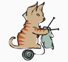 Cute cat knitting needles ball of yarn Kids Clothes