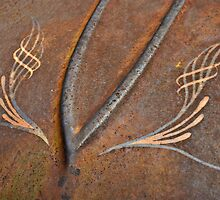 Rusty Car Hood with Pinstripes by Frank Kletschkus