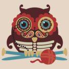 knitting needles owl paisley mustache steampunk skeleton by BigMRanch