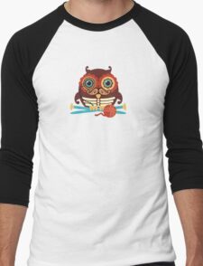 knitting needles owl paisley mustache steampunk skeleton Men's Baseball ¾ T-Shirt