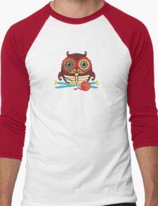 knitting needles owl paisley mustache steampunk skeleton Men's Baseball ¾ T-Shirt