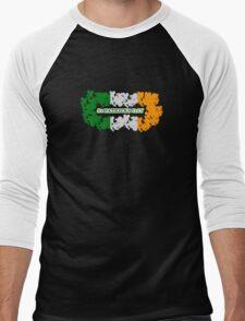 St Patricks Day Flag Clovers Men's Baseball ¾ T-Shirt