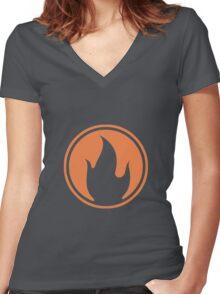 TF2 Black Pyro Emblem Women's Fitted V-Neck T-Shirt