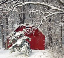 Red Barn in the Snow Sticker
