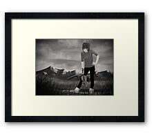 The girl with the violin - Lindsey Stirling B&W Framed Print