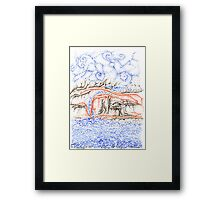 Bluffs, a free hand pen and ink on paper ACEO Framed Print