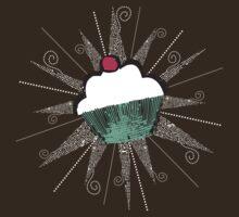 pop art cherry topped cupcake dark t-shirt by BigMRanch