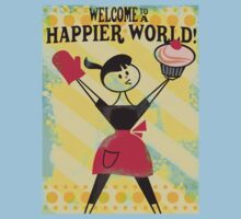 Happier World retro baking cupcake poster by BigMRanch