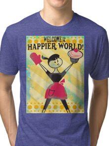 Happier World retro baking cupcake poster Tri-blend T-Shirt