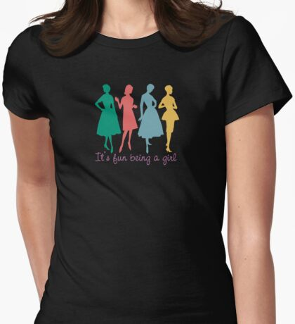 It's fun being a girl retro dress pattern models Womens Fitted T-Shirt