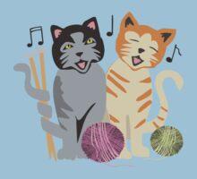 Singing cats knitting needles yarn Kids Tee