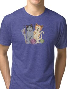 Singing cats knitting needles yarn Tri-blend T-Shirt