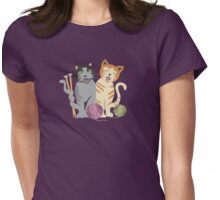 Singing cats knitting needles yarn Womens Fitted T-Shirt
