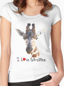 Adorable Giraffe Portrait Women's Fitted Scoop T-Shirt
