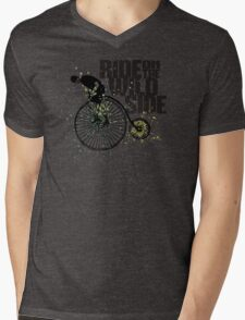 Penny farthing vintage bicycle mustache man wild side Mens V-Neck T-Shirt