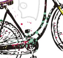 Vintage retro girl's bike ride on the wild side Sticker