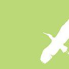 White Egret on Green by Starsania