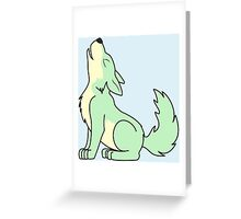 Light Green Howling Wolf Pup Greeting Card