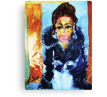SELF PORTRAIT IN A FUR COAT - acrylic, tempera, paper 18 x 24'' Canvas Print