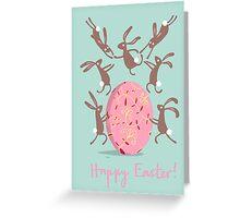 ACROBATIC EASTER BUNNIES Greeting Card