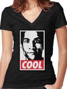 OBEY ABED, COOL? (variant) Women's Fitted V-Neck T-Shirt