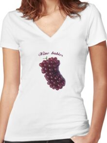 Wine babies Women's Fitted V-Neck T-Shirt