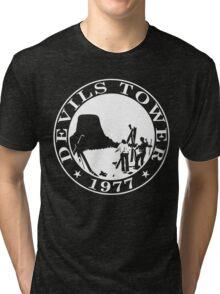 Devils Tower, 1977 (White Print) Tri-blend T-Shirt
