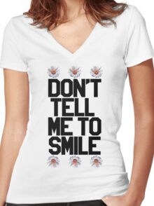 Don't Tell Me To Smile - Black Women's Fitted V-Neck T-Shirt