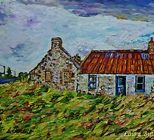 Ruined cottages on the Ballinlea Road, Stranocum, County Antrim, Oil and Acrylic on Canvas, 10 x 14 ins by Laura Butler