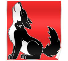 Black & White Howling Wolf Pup Poster