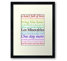 Les Miserables Lyric Design Framed Print