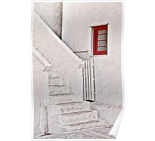 Red Window, White Steps Poster
