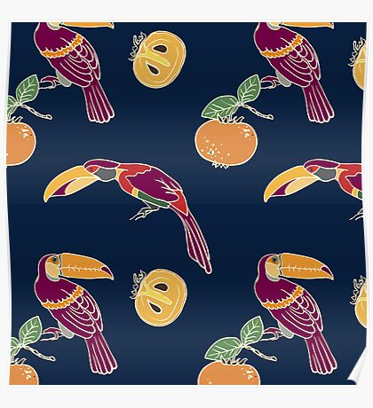 Two toucan and persimmon ornament Poster
