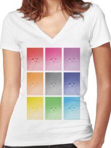 Wet heart - rainbow dash Women's Fitted V-Neck T-Shirt