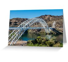 Old Trails Arch Bridge and mountains, Topock, AZ Greeting Card