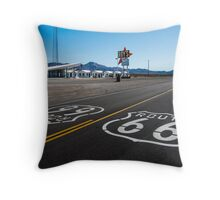 Route 66 Shield at Roy's Motel. Amboy, CA Throw Pillow