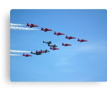 Red Arrows and The Eagle Squadron in formation.... Canvas Print