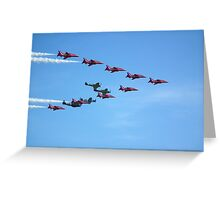 Red Arrows and The Eagle Squadron in formation.... Greeting Card