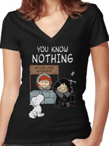 You Know Nothing Women's Fitted V-Neck T-Shirt