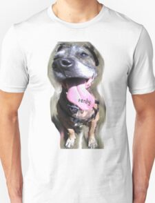 Crazy Dog Tounge Face (with text) Unisex T-Shirt