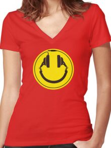 Headphones smiley wire plug Women's Fitted V-Neck T-Shirt