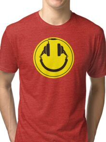 Headphones smiley wire plug Tri-blend T-Shirt