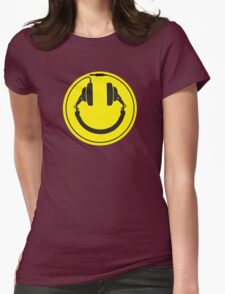 Headphones smiley wire plug Womens Fitted T-Shirt
