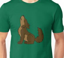Brown Howling Wolf Pup Unisex T-Shirt