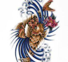 Gemini Koi Fish Art by Aarron Laidig