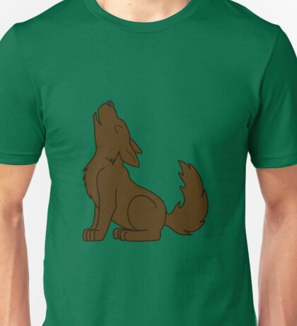 Solid Brown Howling Wolf Pup Unisex T-Shirt