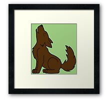 Solid Brown Howling Wolf Pup Framed Print