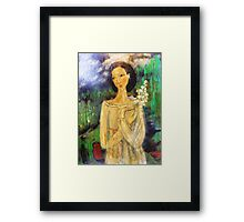lady in a field Framed Print